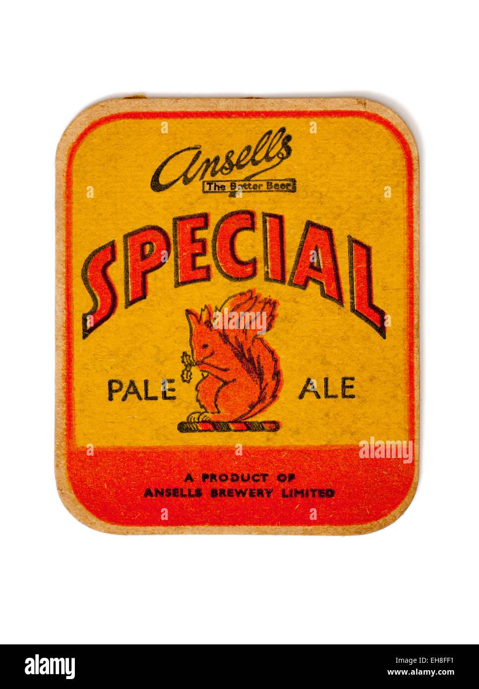 Vintage Beermat Advertising Ansells Special Pale Ale Beer - Stock Image