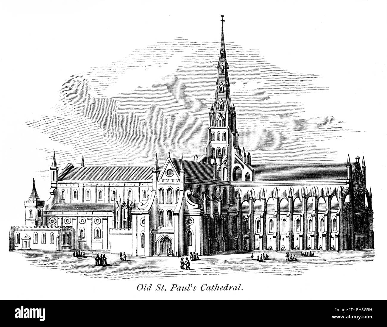 An engraving of Old St. Paul's Cathedral scanned at high resolution from a book printed in 1867. Stock Photo