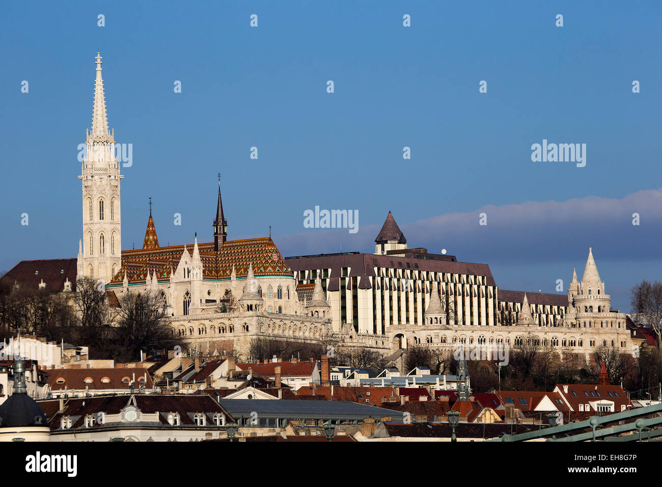 Budapest landscape showing Buda hill with Matthias church and Fisherman's Bastion - Stock Image