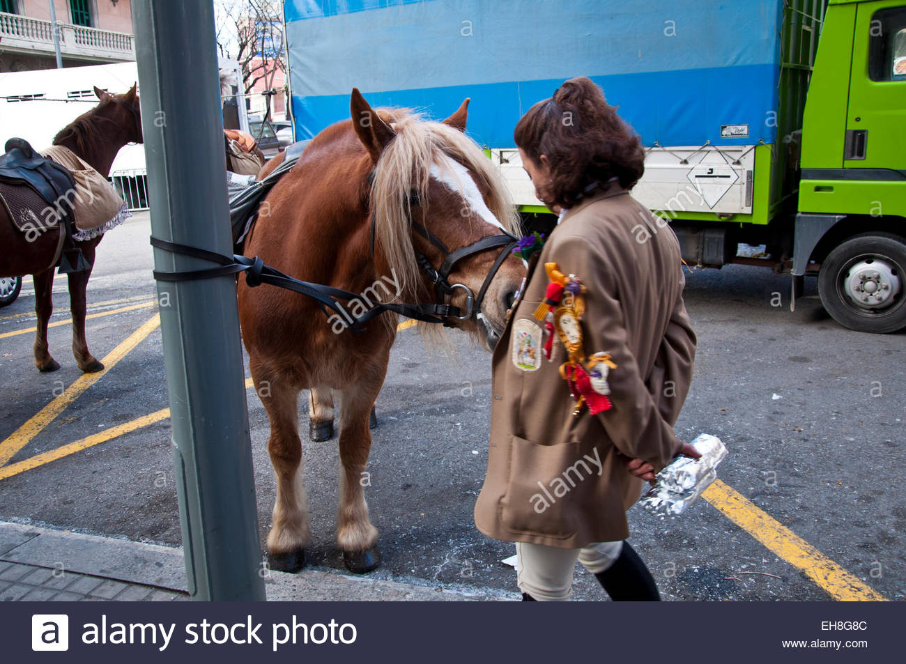 Horse and horsewoman playing, Fiesta de Sant Medir 2015, Gracia Barcelona Spain - Stock Image