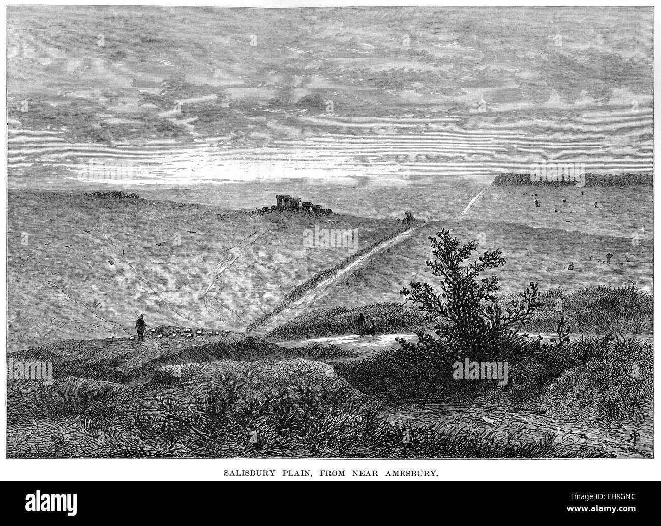 An engraving of Salisbury Plain, from near Amesbury scanned at high resolution from a book printed in 1880. - Stock Image