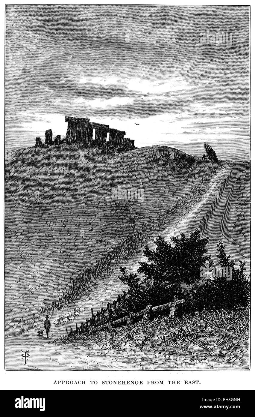 An engraving of the Approach to Stonehenge from the East scanned at high resolution from a book printed in 1880. - Stock Image