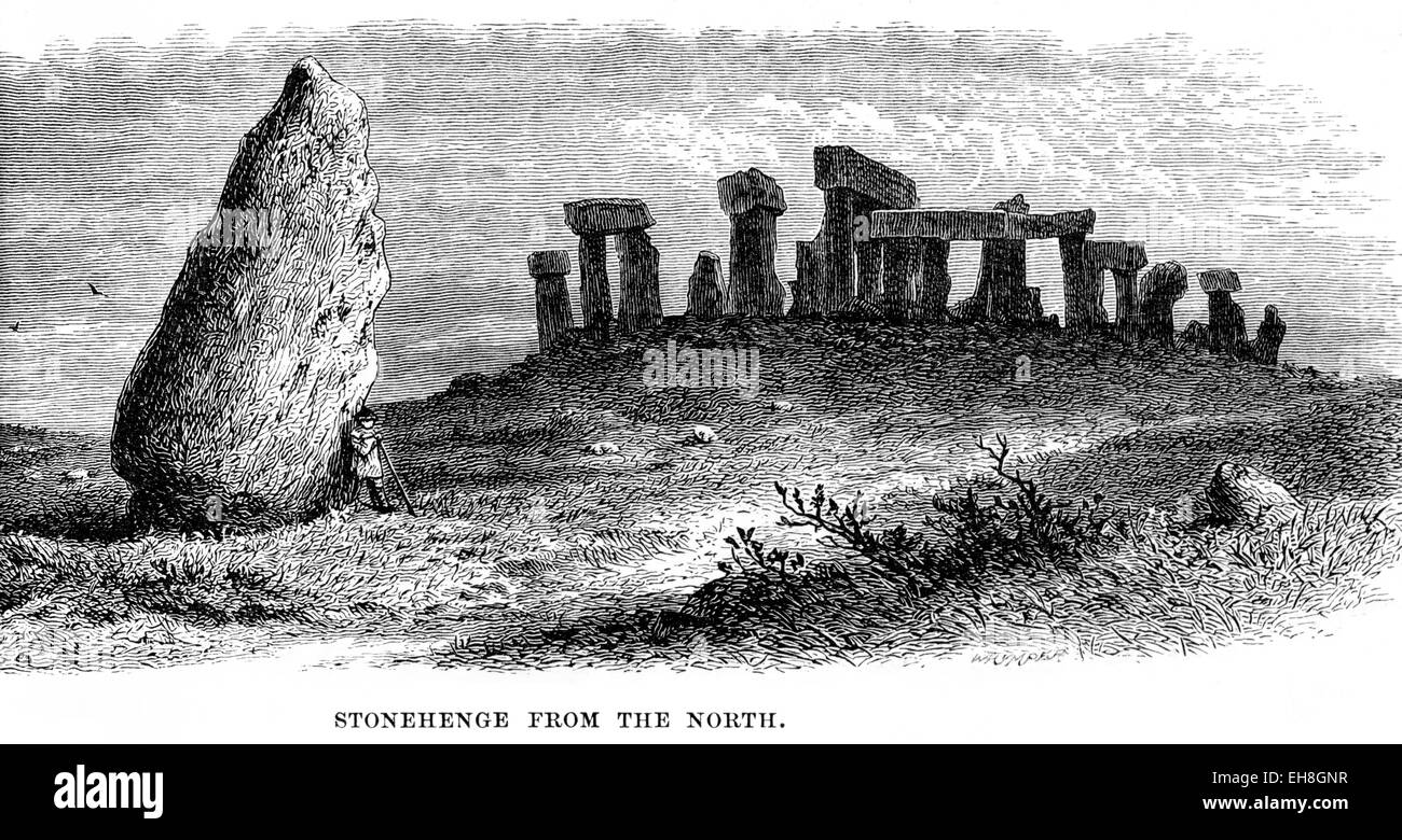 An engraving of Stonehenge from the North scanned at high resolution from a book printed in 1880. - Stock Image