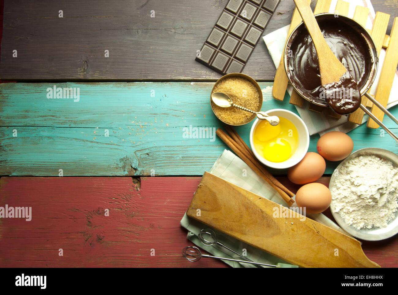 Baking ingredients new recipe - Stock Image