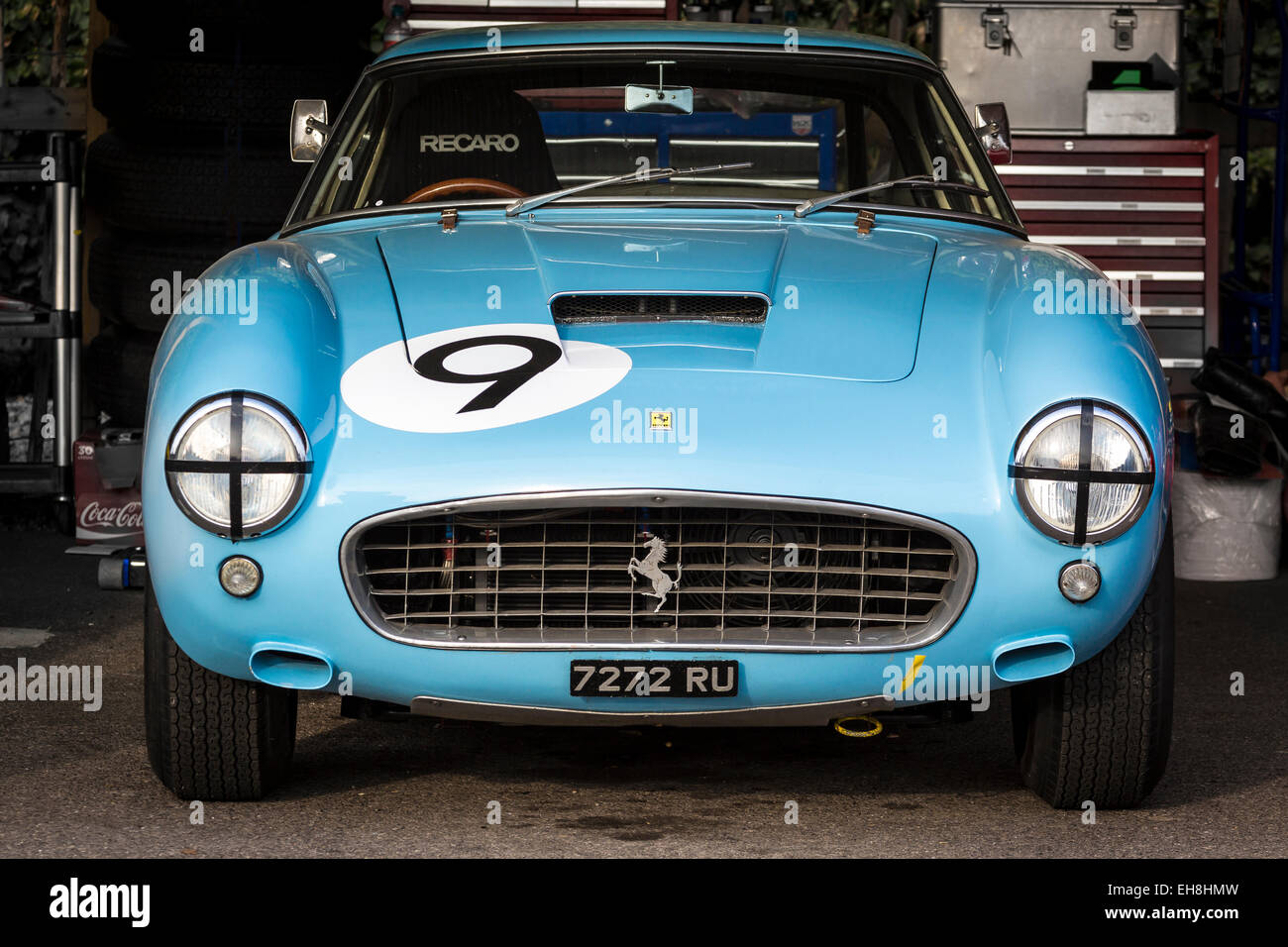 1960 Ferrari 250 GT SWB/C in the paddock garage at the 2014 Goodwood Revival, Sussex, UK. - Stock Image