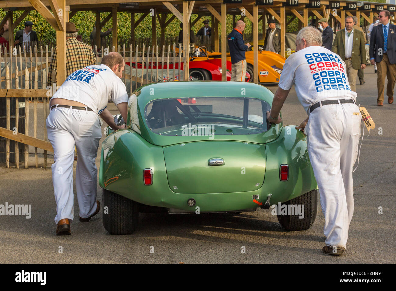 1964 AC Cobra is wheeled trough the paddock by mechanics prior to the RAC TT Celebration race, 2014 Goodwood REvival, - Stock Image