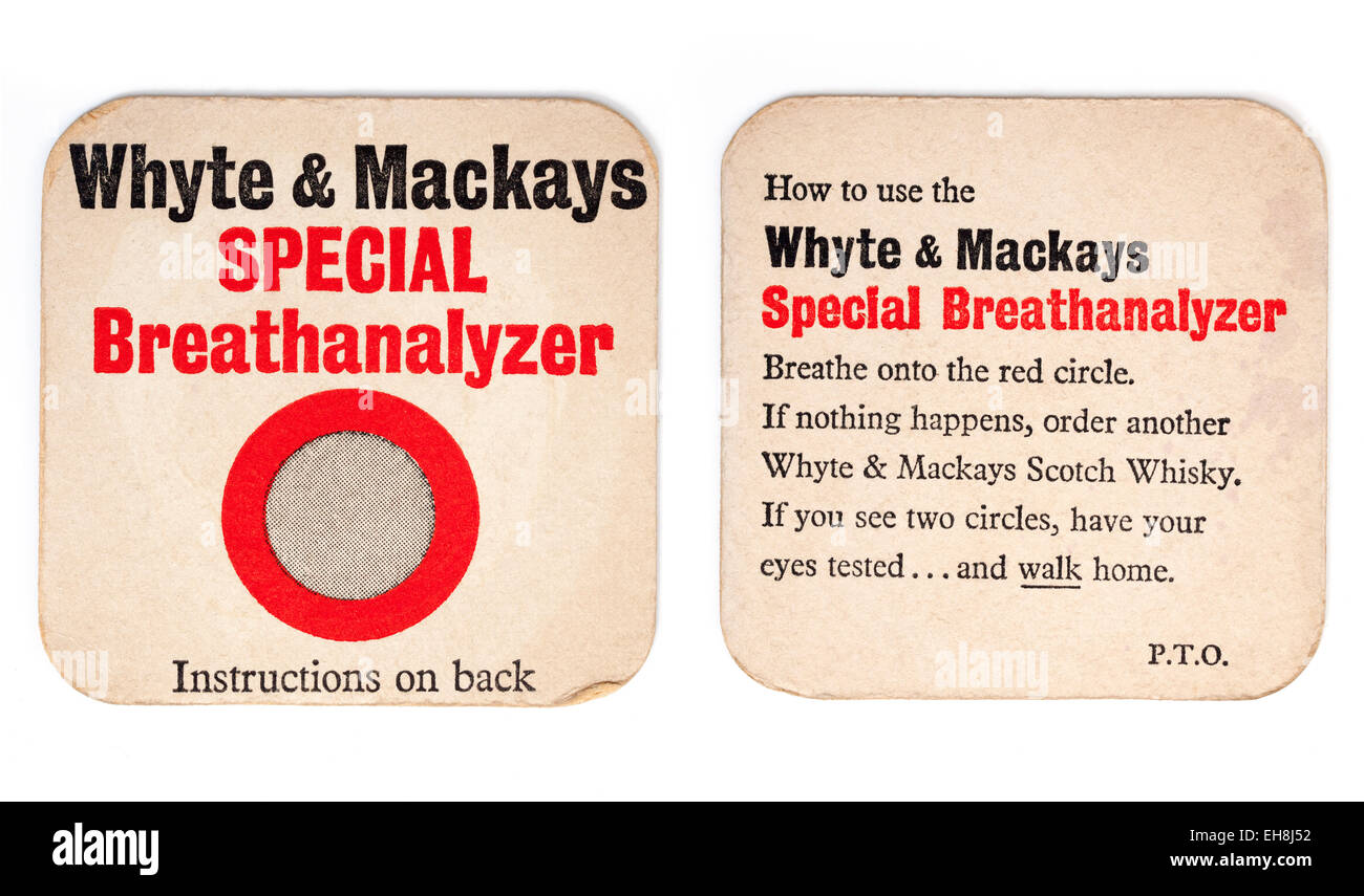 Vintage Beermat Advertising Whyte and Mackays Whisky (front and back view) - Stock Image