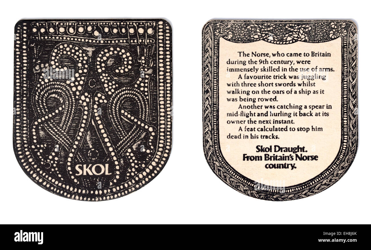 Vintage Beermat Advertising Skol Lager (front and back view) - Stock Image