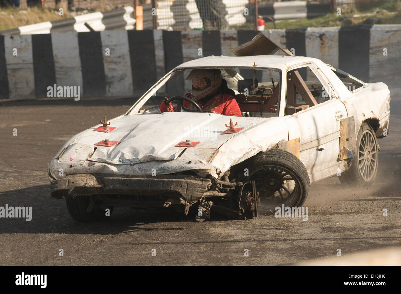 smashed up old junk cars wreck wrecks demolition derby derbies Stock ...