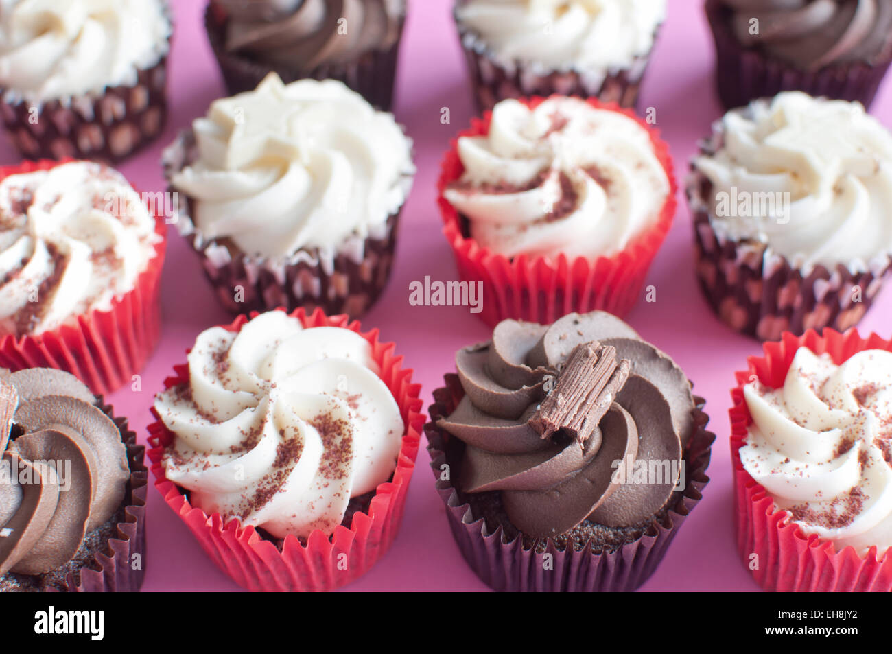 Cream cupcakes over a pink backdrop - Stock Image