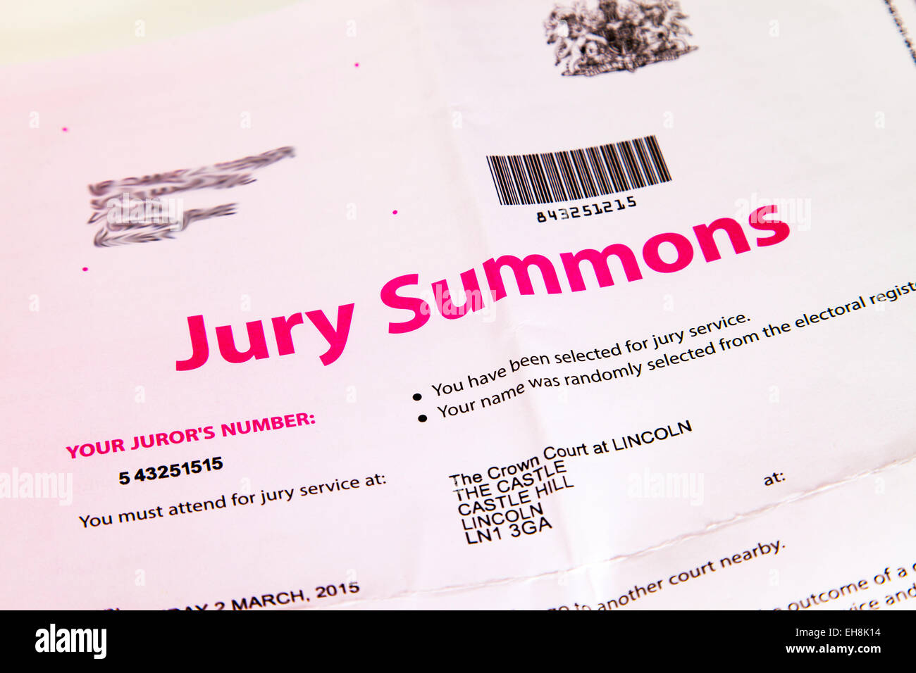 Jury summons letter letterhead crown court appearance Lincoln uk england 2015 cutout white background copy space - Stock Image