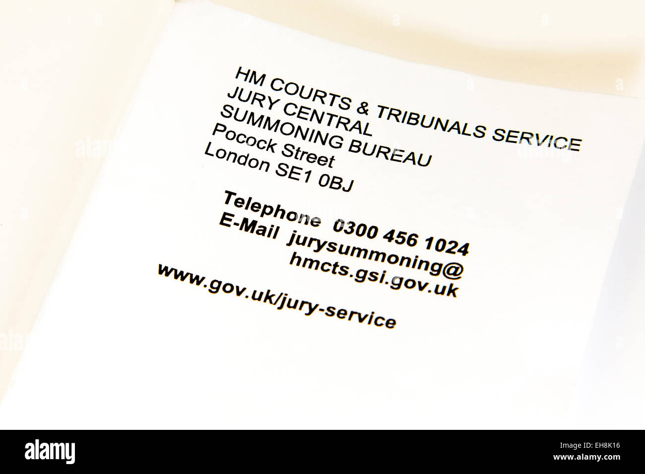 Jury summons letter letterhead crown court appearance Lincoln uk england 2015 tribunals service summoning bureau - Stock Image