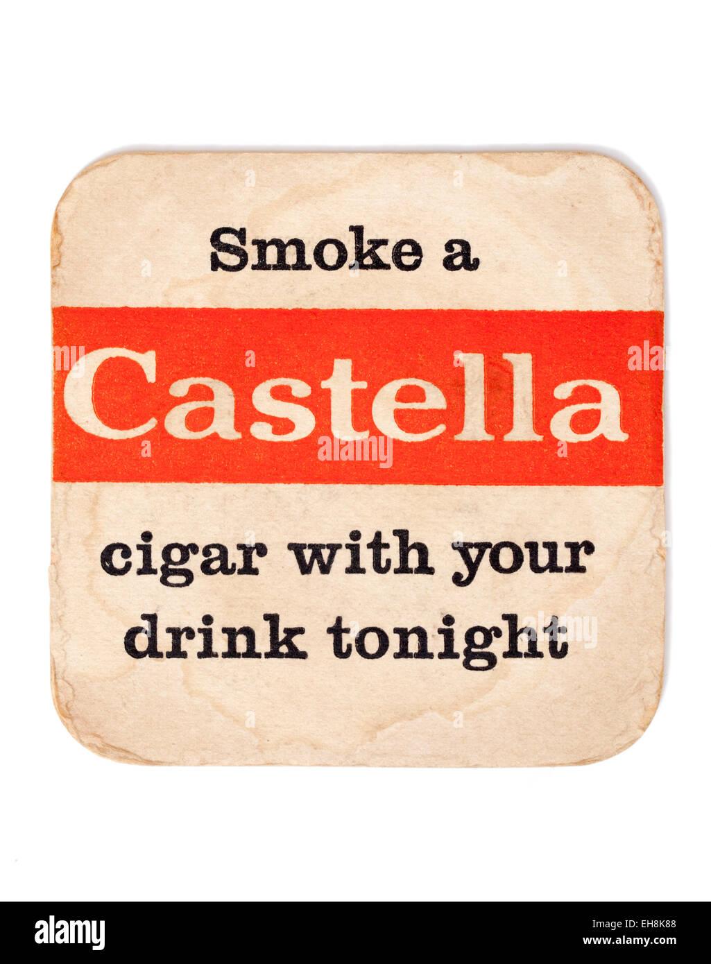 Vintage Beermat Advertising Castella Cigars - Stock Image