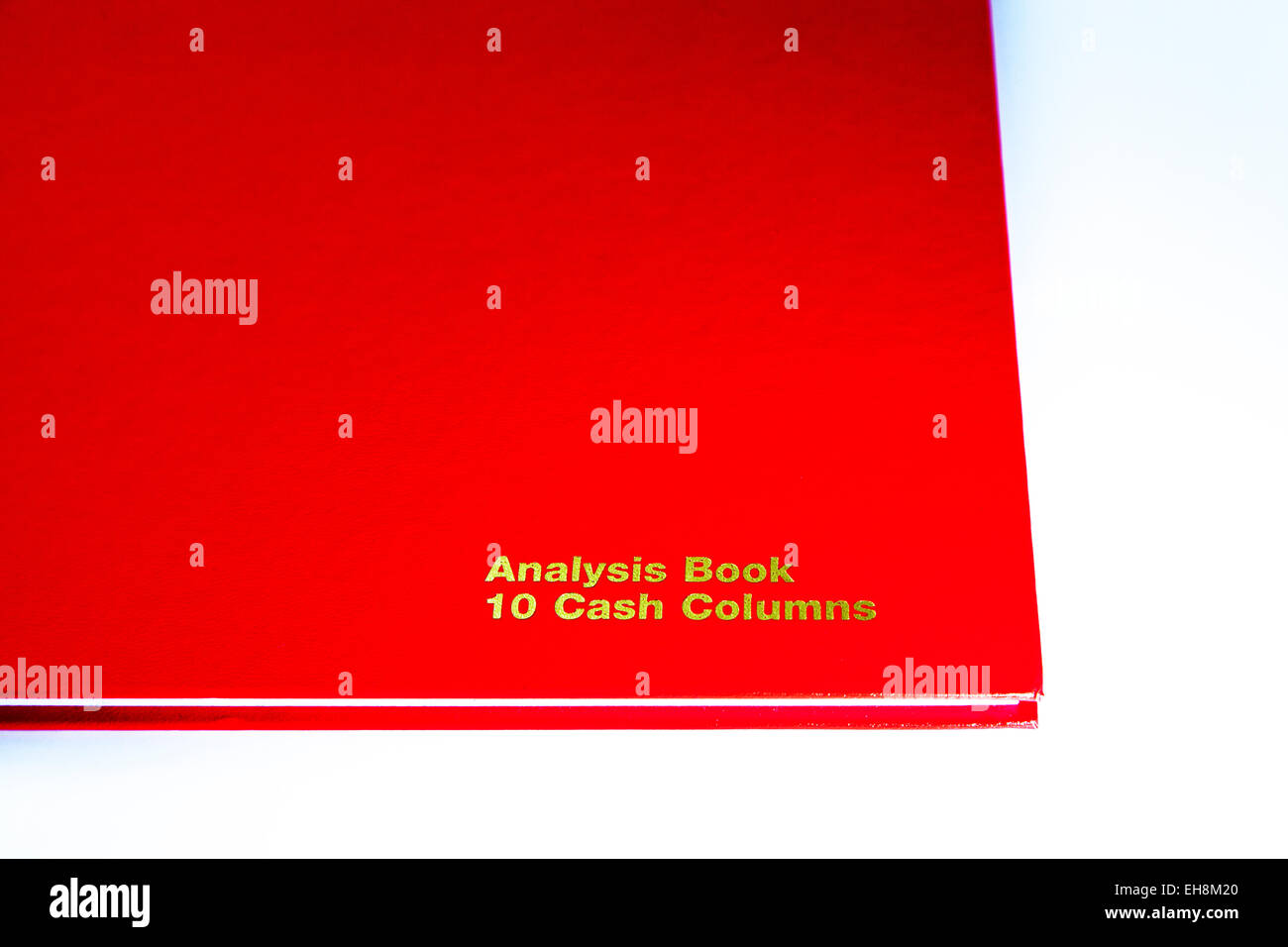 Analysis book keeping accounts ledger cash columns hardback red product cutout white background copy space isolated - Stock Image