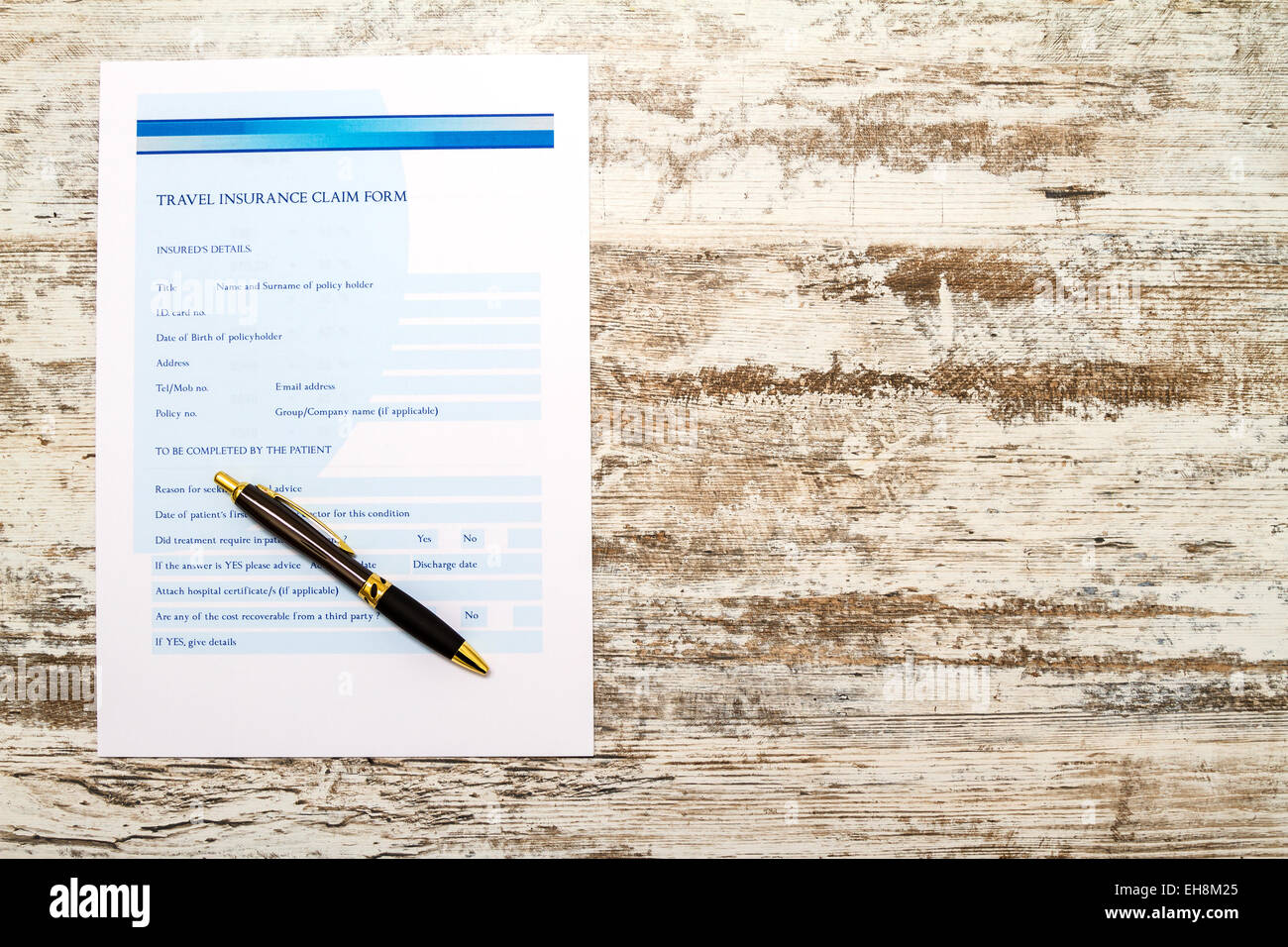 Travel insurance application form background - Stock Image