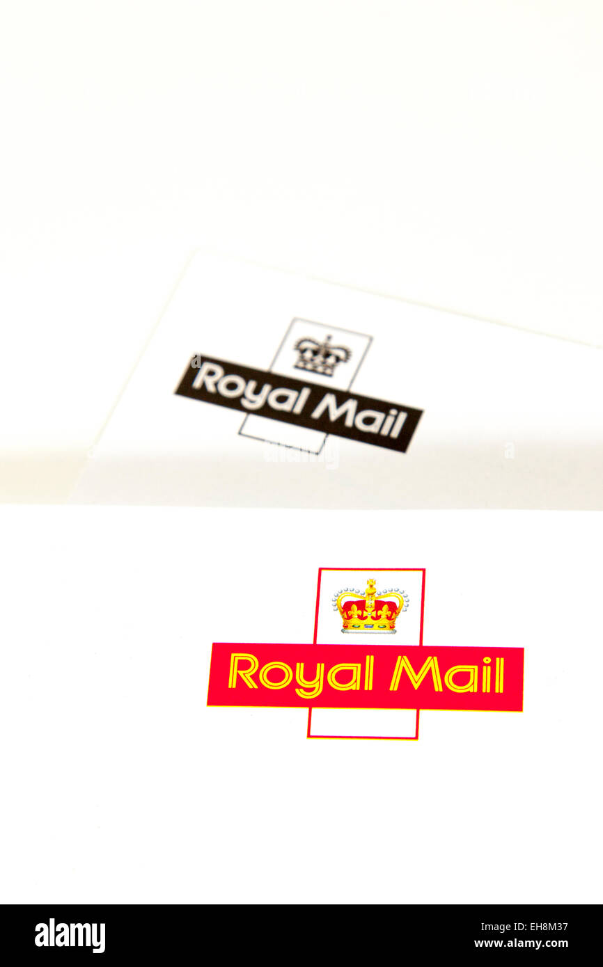 Royal mail logo letterhead letter colour color product cutout white background copy space isolated - Stock Image