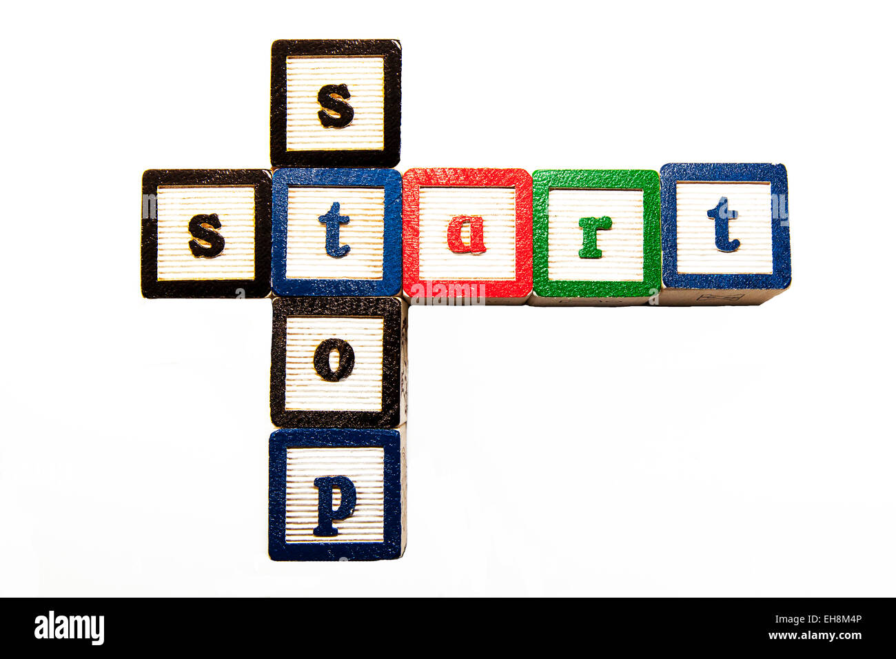 stop start words begin end word concept cutout white background copy space isolated - Stock Image