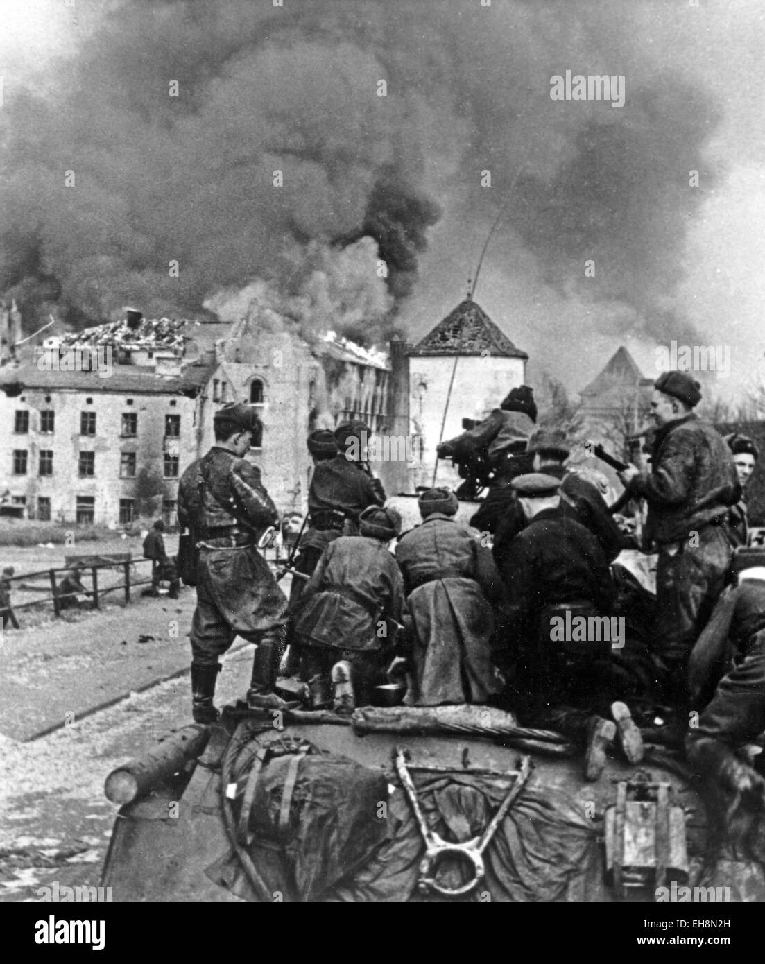 SOVIET TANK in the suburbs of Danzig, Poland,  in March 1945 - Stock Image