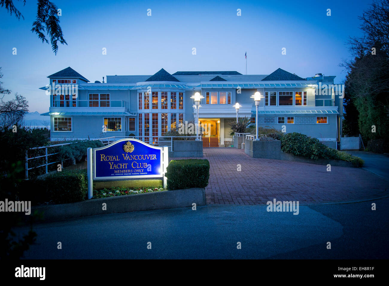 Clubhouse, the Royal Vancouver Yacht Club, Vancouver, British Columbia, Canada - Stock Image