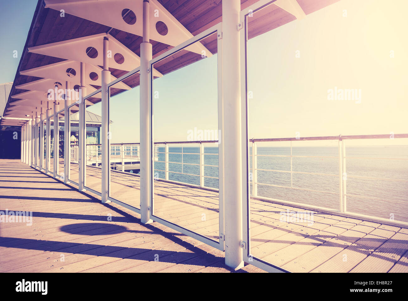 Vintage toned picture of veranda by the sea. - Stock Image