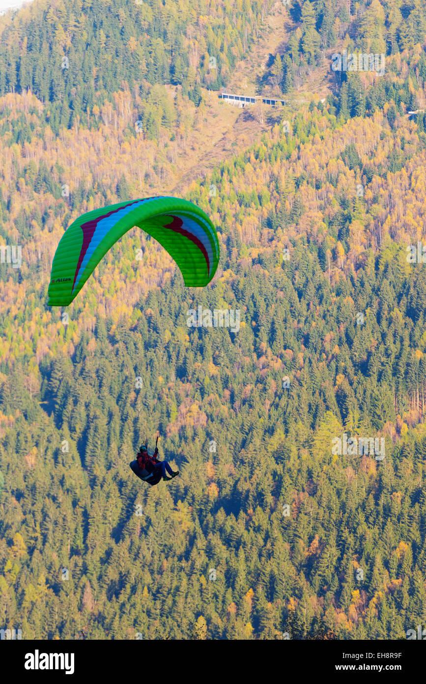 Europe, France, Haute Savoie, Rhone Alps, Chamonix Valley, paraglider Stock Photo