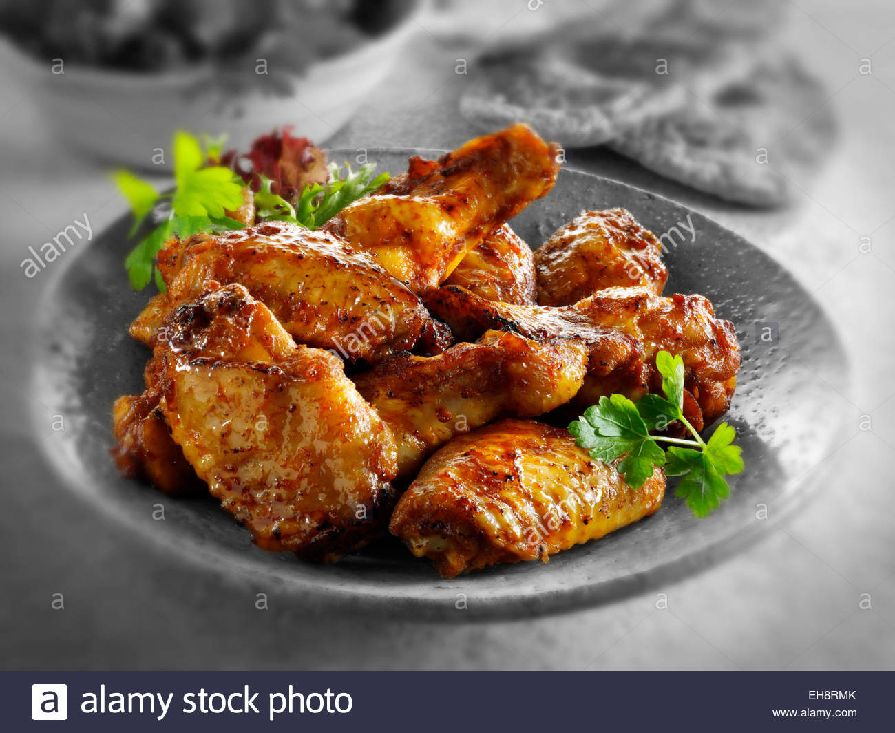 Traditional marinated barbecue chicken wings - Stock Image