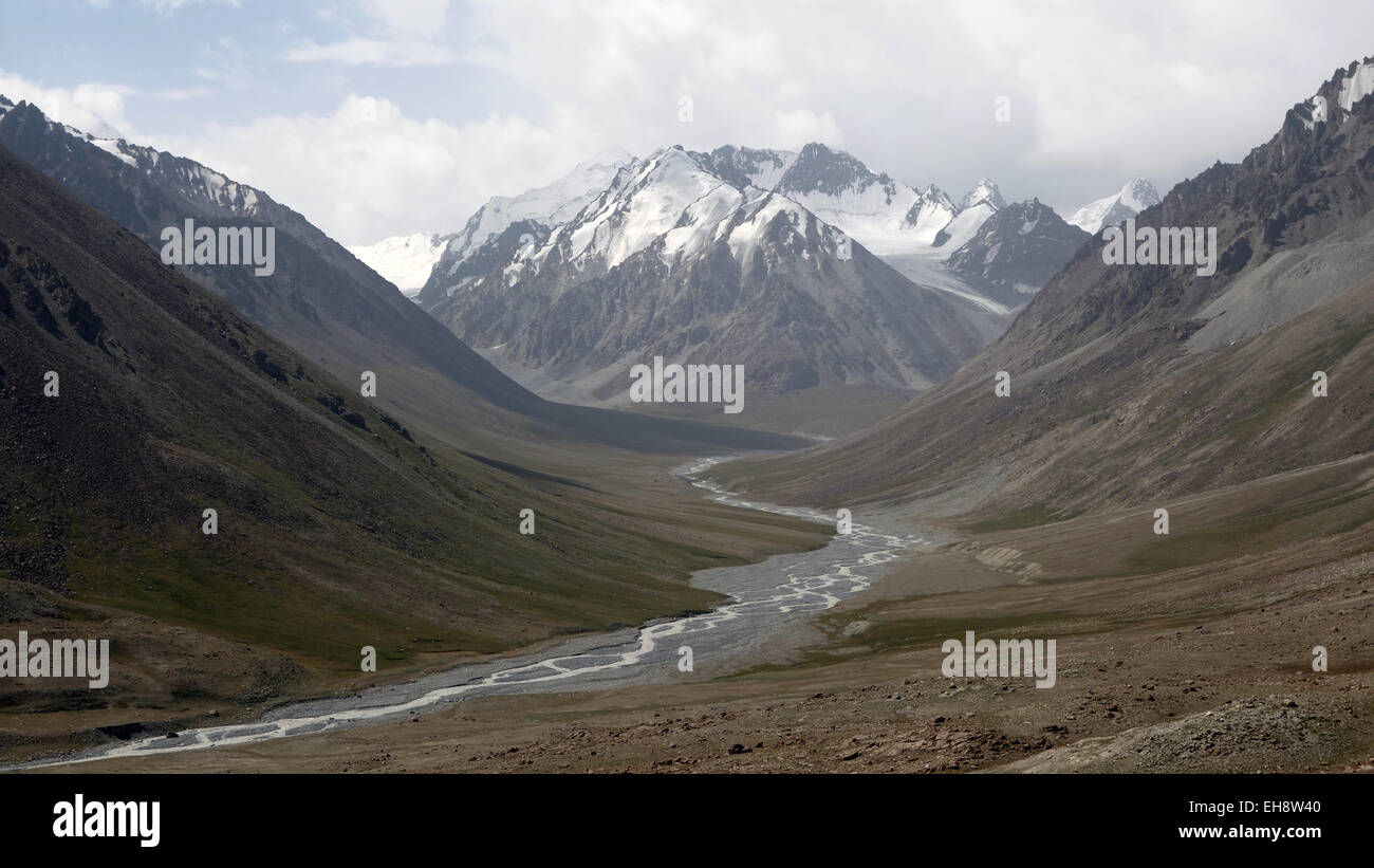 Scenic view from Karakoram highway from China to Pakistan. - Stock Image