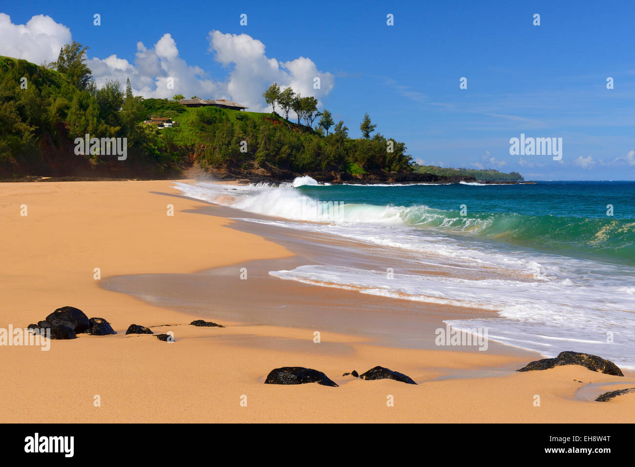 Secret Beach near Kilauea Point, Kauai, Hawaii, USA Stock Photo