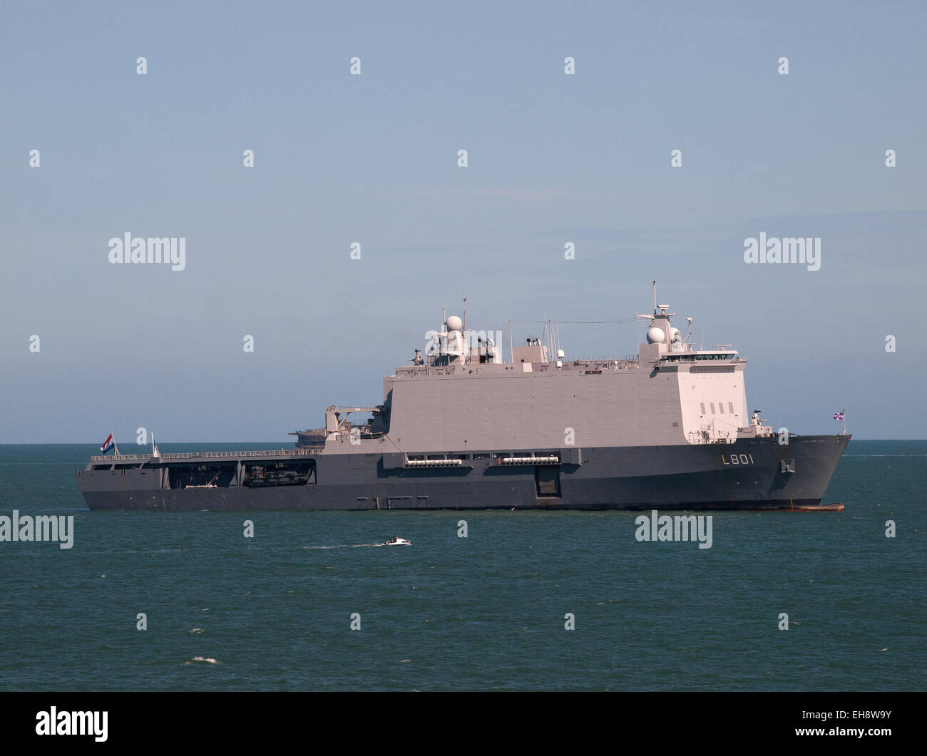 HNLMS Johan de Witt (L801) amphibious warfare ship of the Royal Netherlands Navy anchored in the Solent off Portsmouth - Stock Image