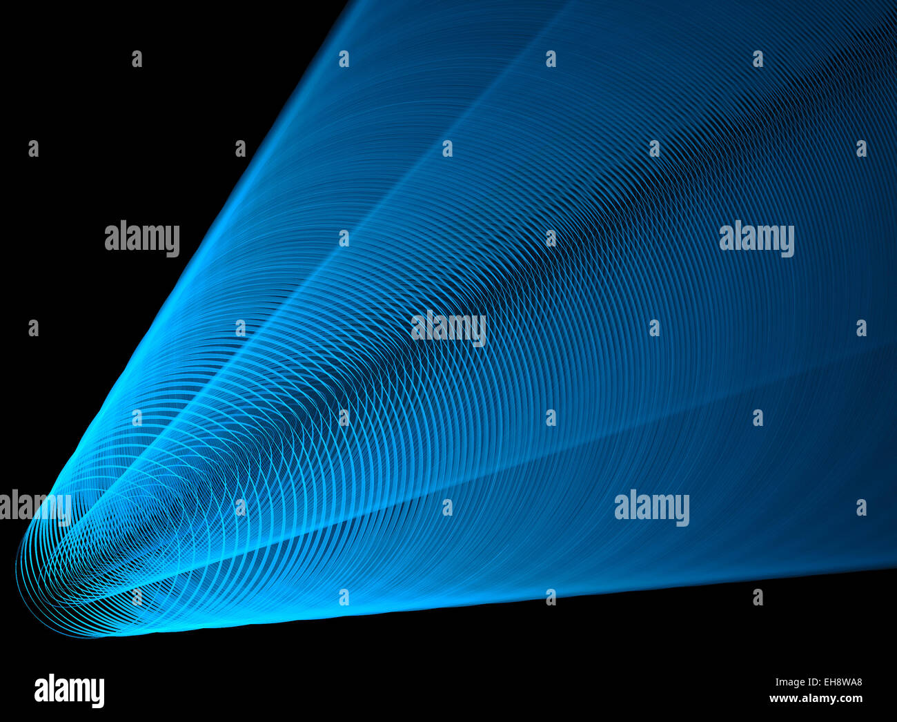 Blue spotlight. Directed beam of concentric circles - Stock Image