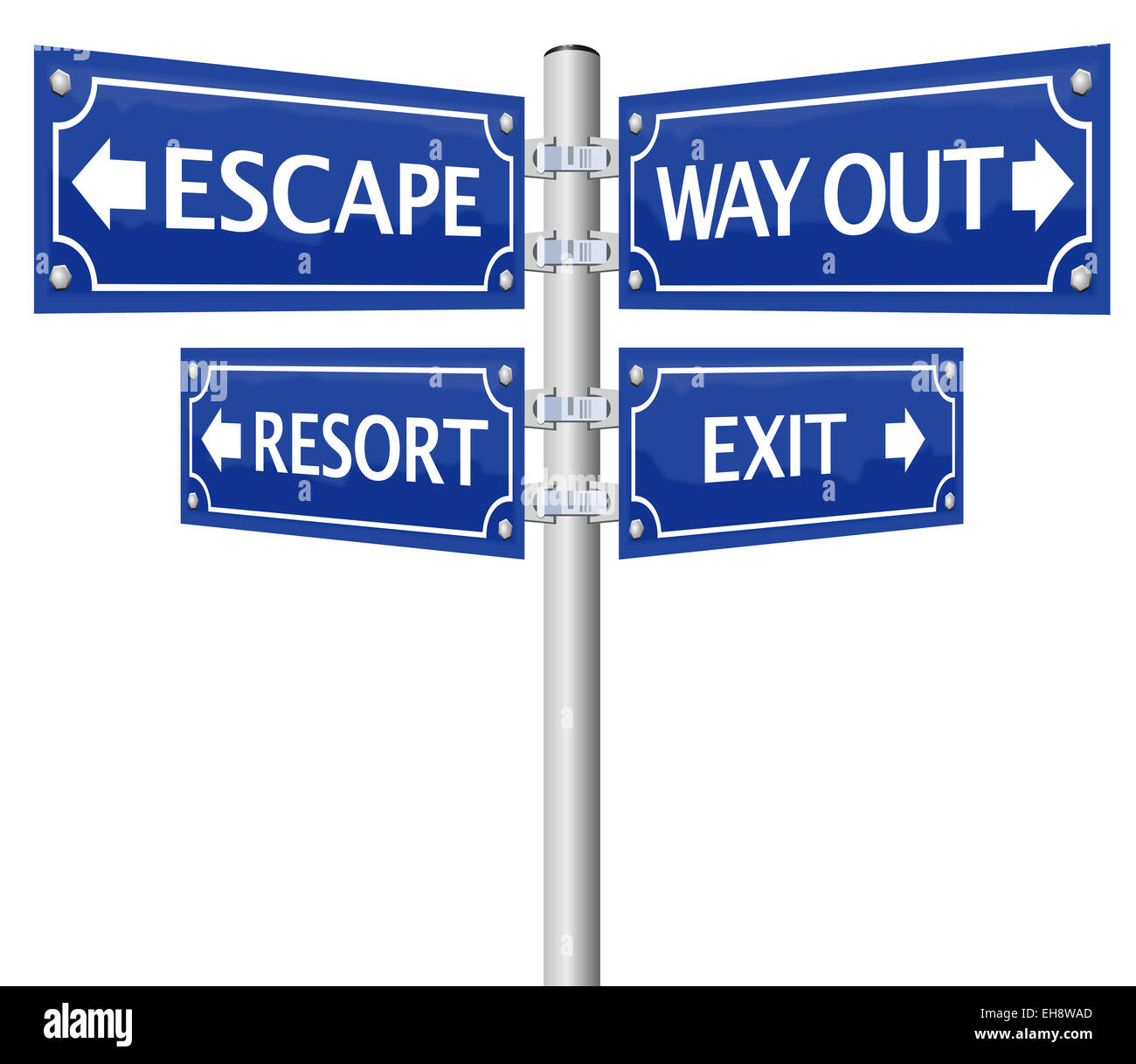 EXIT, ESCAPE, WAY OUT and RESORT, written on four signposts. - Stock Image