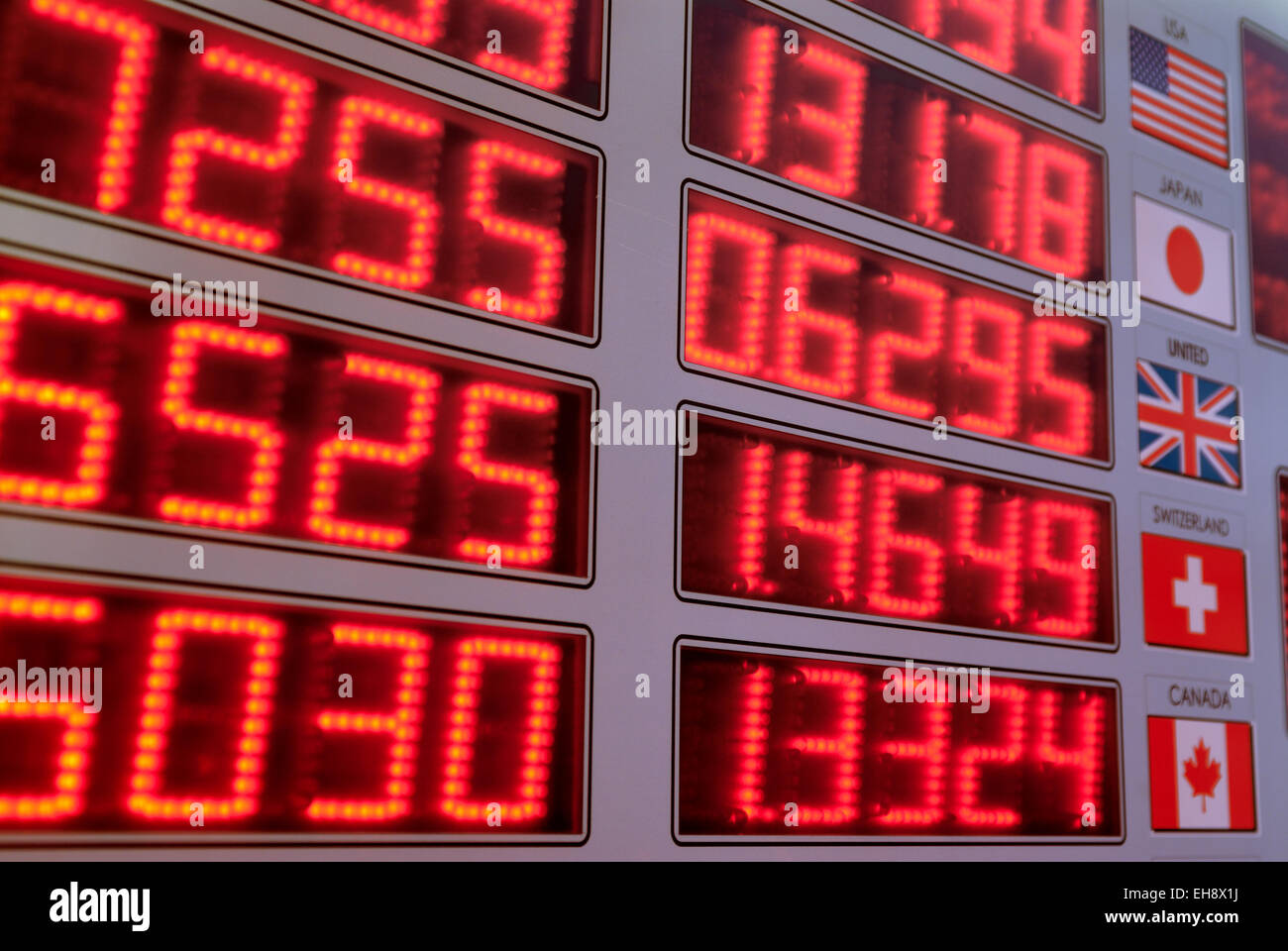 Display showing foreign currency exchange rates in a Money