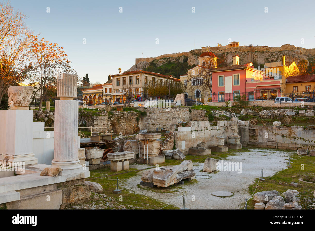 Remains of the Hadrian's Library in Monastiraki square in Athens, Greece. - Stock Image