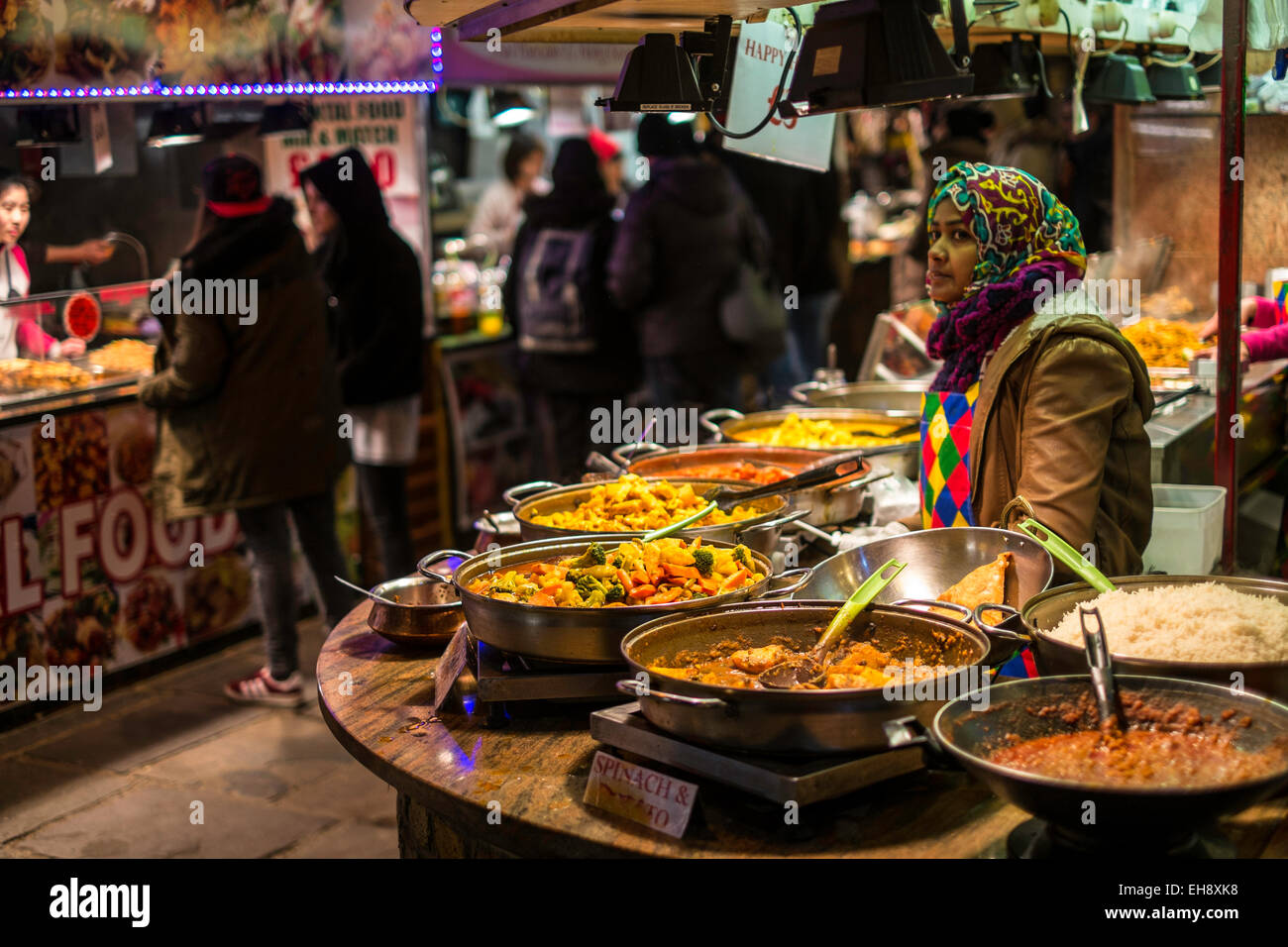 Street food stalls, Camden, London, United Kingdom - Stock Image