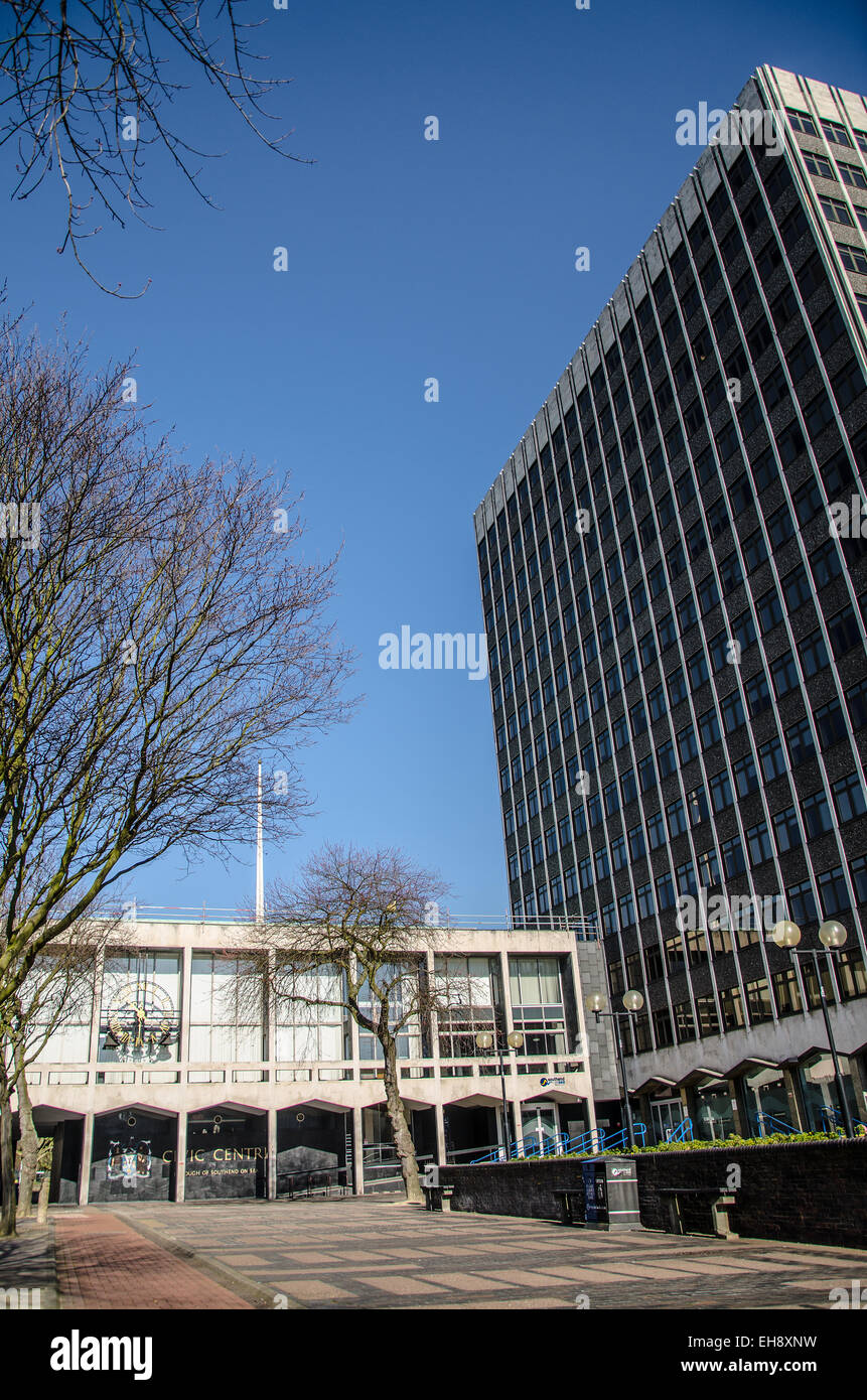 The Civic Centre in Southend on Sea is the home of the Southend Borough Council offices and other local services. - Stock Image