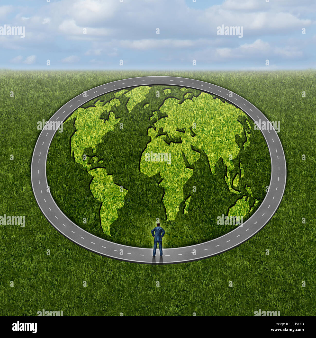 Global markets access and accessibility concept as a businessman standing in front of a infinite circle road with - Stock Image