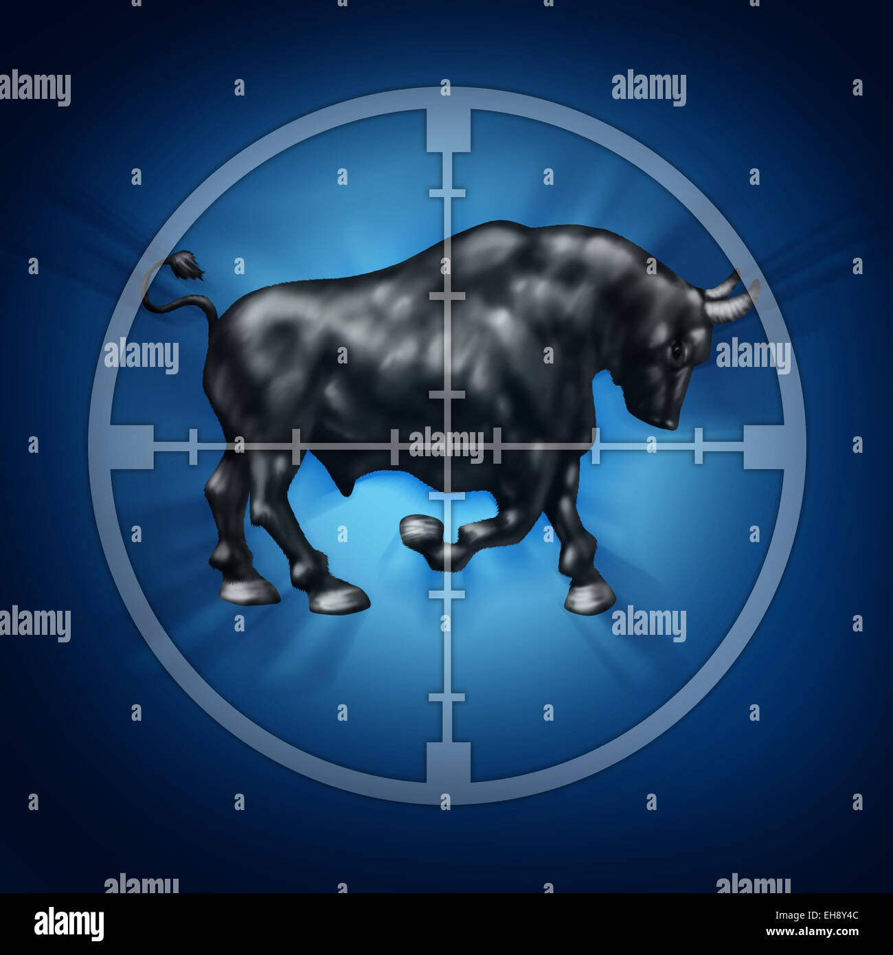 Bull market target as crosshairs for rising securities prices as a horned animal in focus representing a bullish - Stock Image