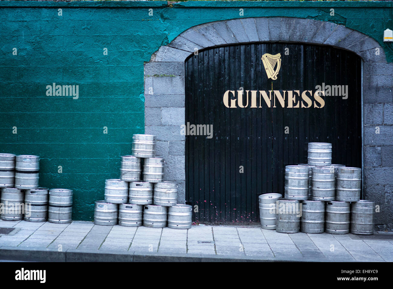 Barrels of Guinness stacked outside an pub in Galway, Ireland - Stock Image