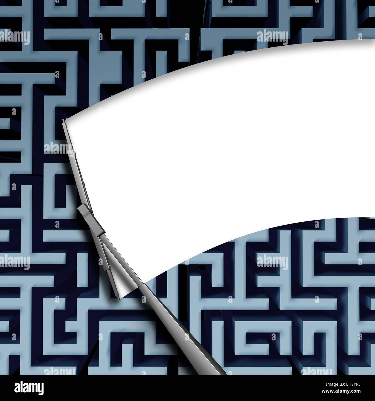 Clear solution concept with a windshield window wiper blade wiping off a complicated maze or labyrinth pattern as - Stock Image