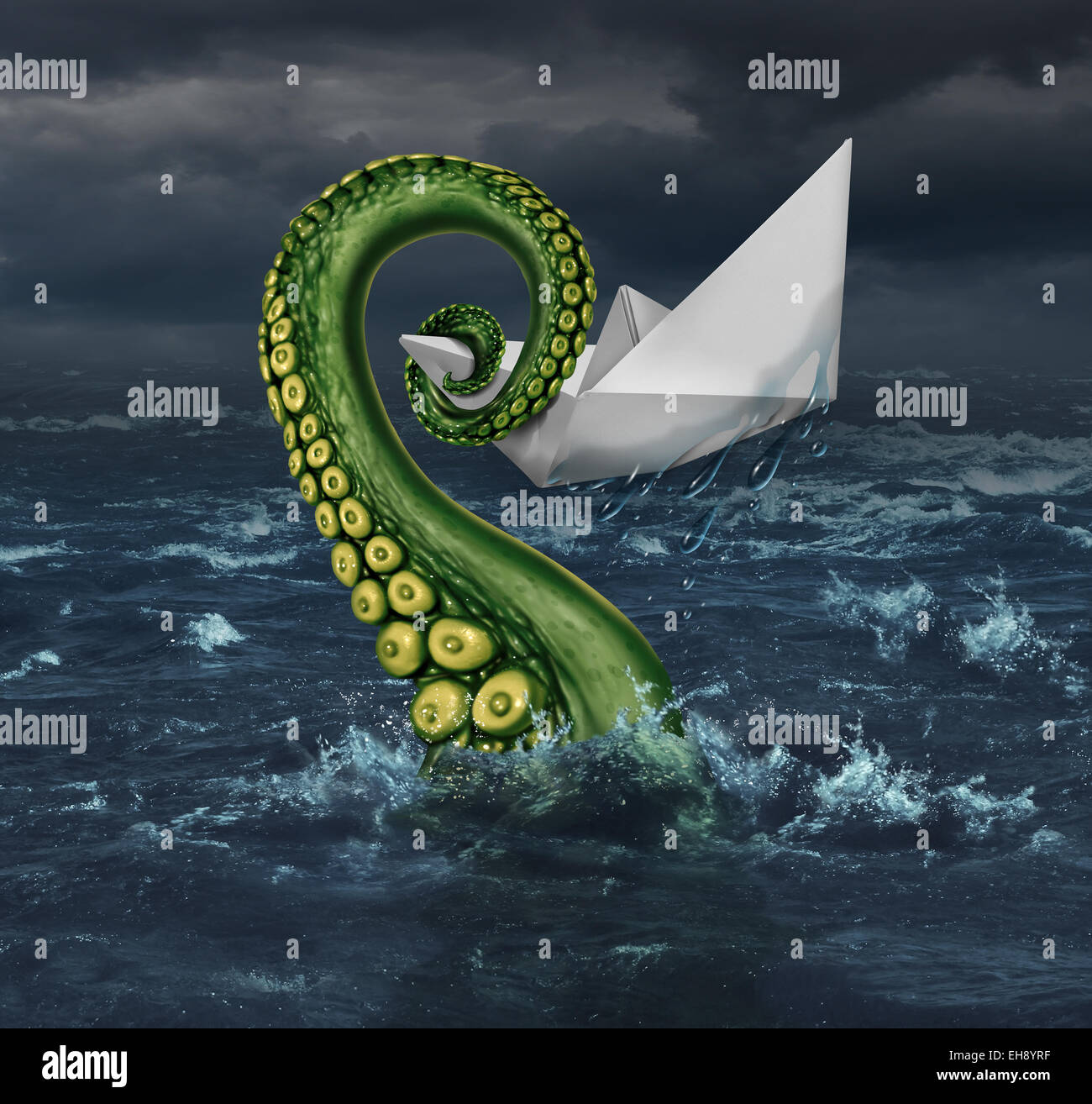 Business trouble and financial trap concept as an origami paper boat in a stormy sea being trapped by a monster - Stock Image