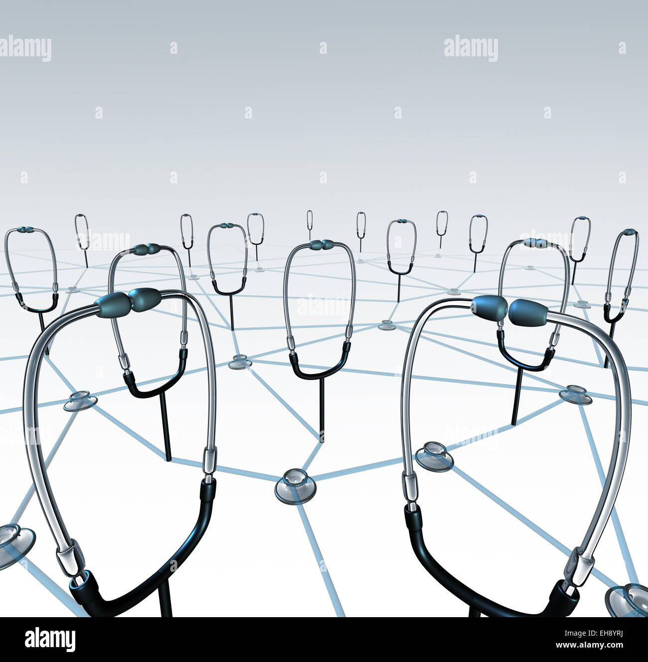 Doctor network and medical records exchange concept as a group of connected physician stethoscopes sharing data - Stock Image