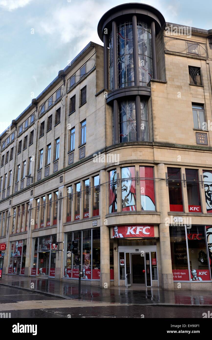 The KFC fast food shop on the site formerly known as 'Boots corner' at Argyle Street, Glasgow, Scotland, - Stock Image