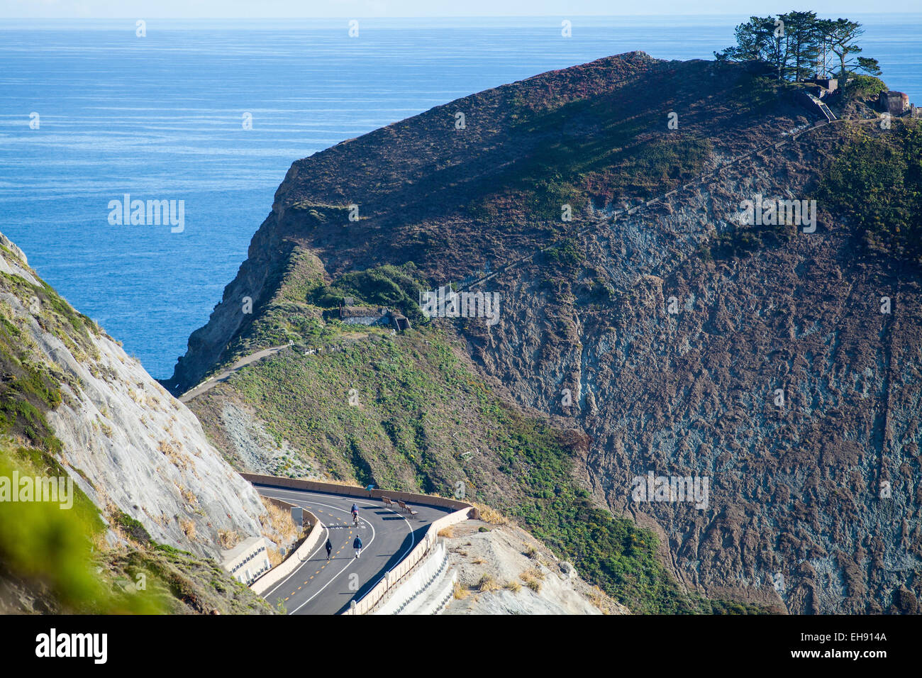 bicyclists on Devil's Slide Coastal Trail, near Half Moon Bay, California - Stock Image