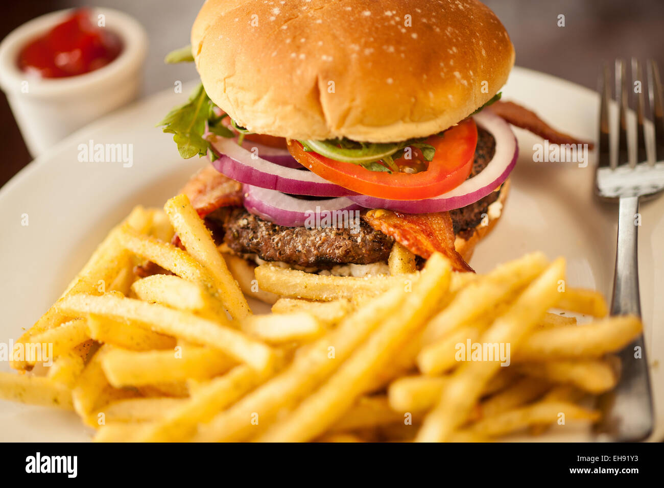 Fig 'n' Tasty burger, Char Grilled Califoria Wagyu Beef Patty Topped with Applewood Bacon, Goat Cheese, House made Stock Photo