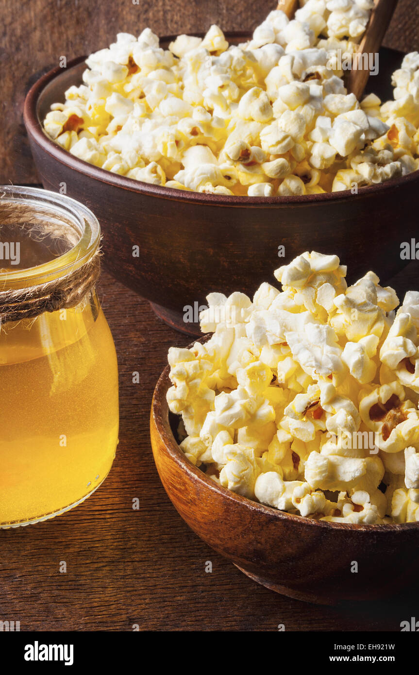 Healthy Buttered Popcorn with Salt in a Bowl - Stock Image