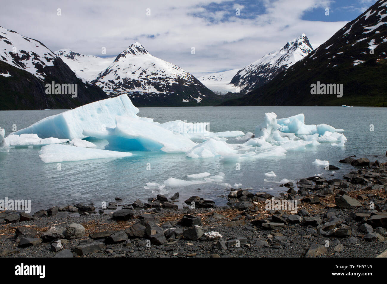 Icebergs in Portage Lake, Alaska - Stock Image