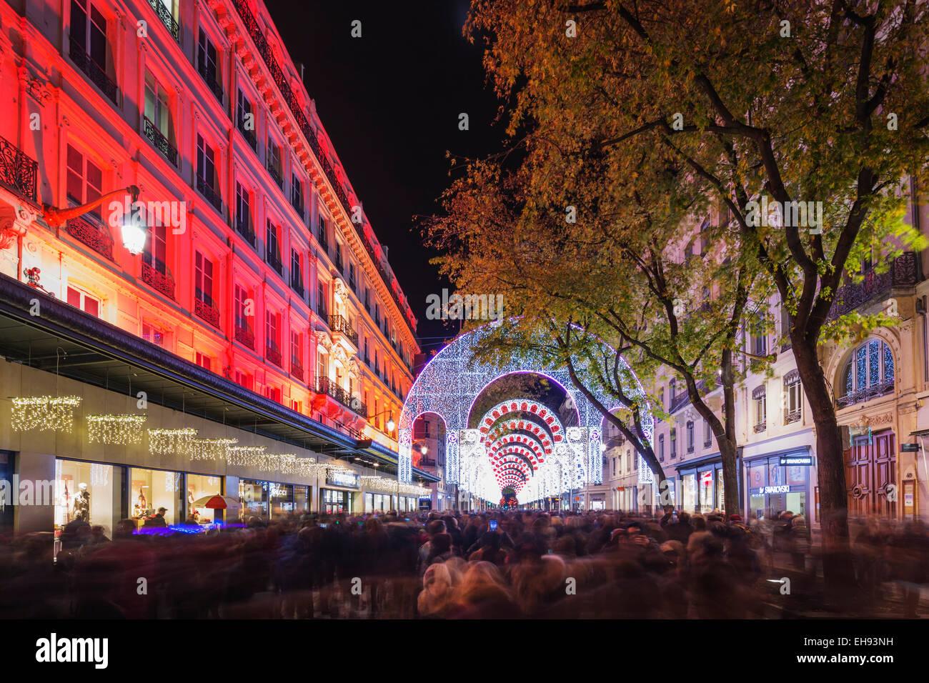 Europe, France, Rhone-Alpes, Lyon, Fete des Lumieres, festival of lights - Stock Image