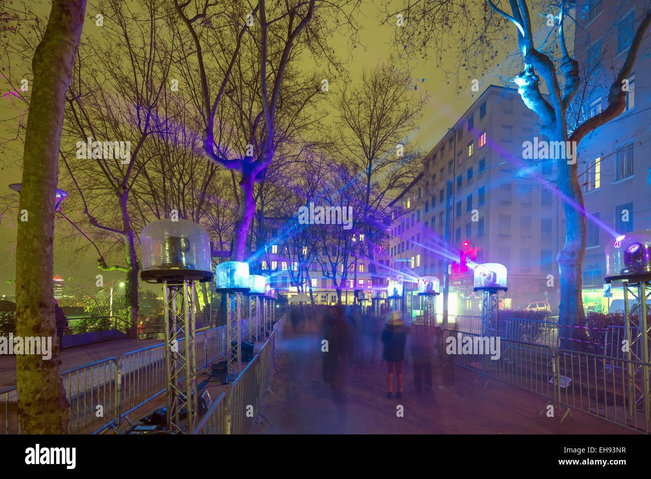 Europe, France, Rhone-Alpes, Lyon, Fete des Lumieres, festival of lights, illuminated park - Stock Image