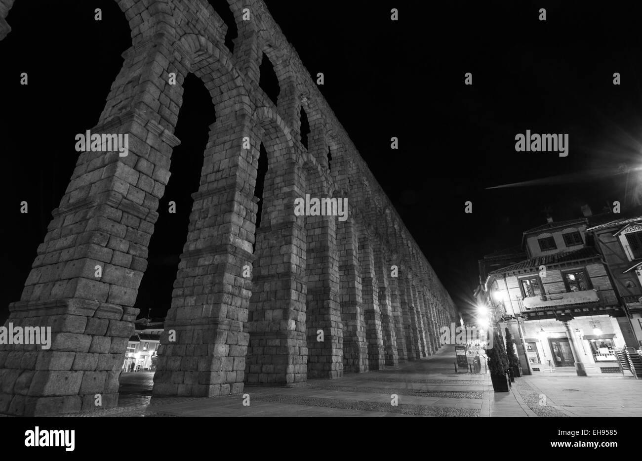 Aqueduct of Segovia, - Stock Image