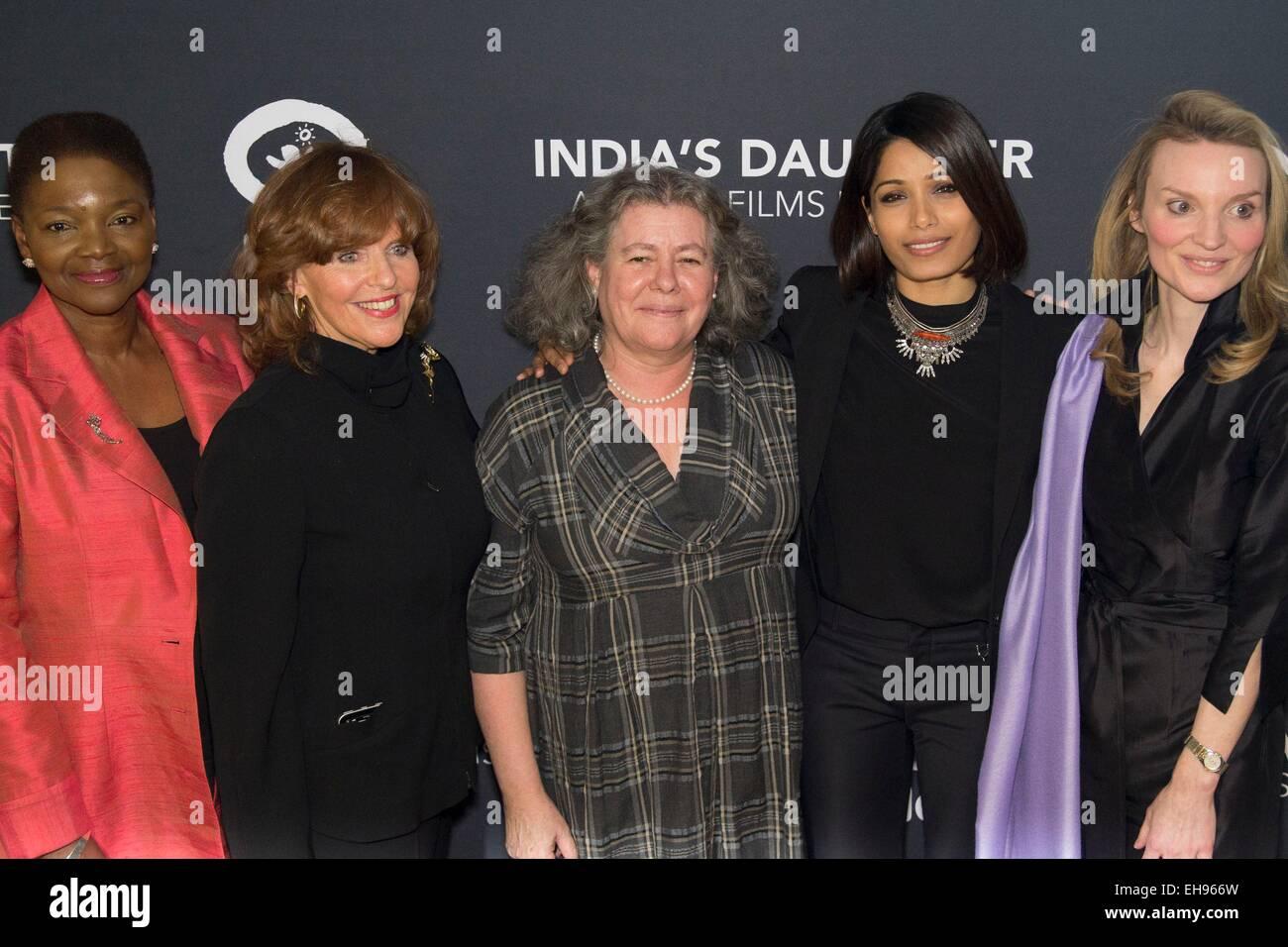 New York, NY, USA. 9th Mar, 2015. Baroness Amos, Susan Ann Davis, Tanya Barron, Freida Pinto, Alyse Nelson at arrivals - Stock Image